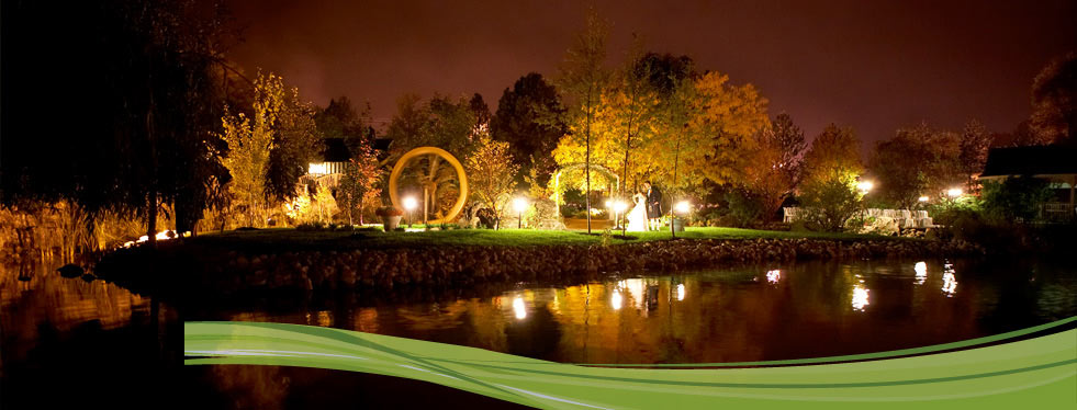 Wedding garden at night